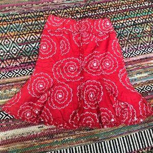 Red cotton 4 odille summer skirt Anthropologie